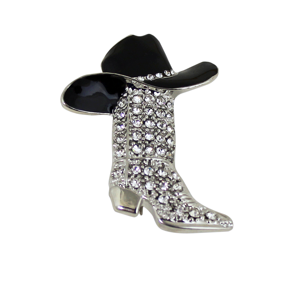 Cowboy Hats With Pins On Them: Crystal Encrusted Cowboy Boot And Hat Brooch Pin Or
