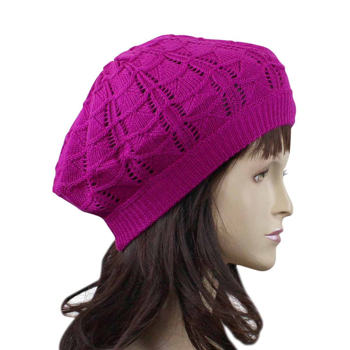 Loose Beret Knitting Pattern : Stylish French Loose Woven Beret Hat Knitted Crochet eBay