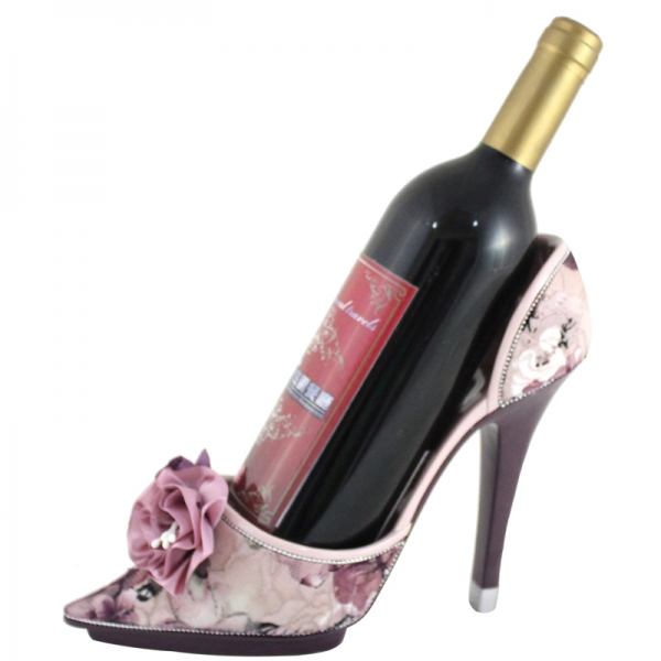 Details about Rose Shoe Wine Bottle Holder Purple Elegant NEW in box
